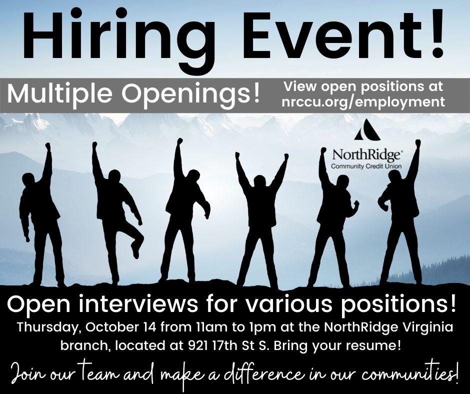 Hiring Event October 14 11am 1pm