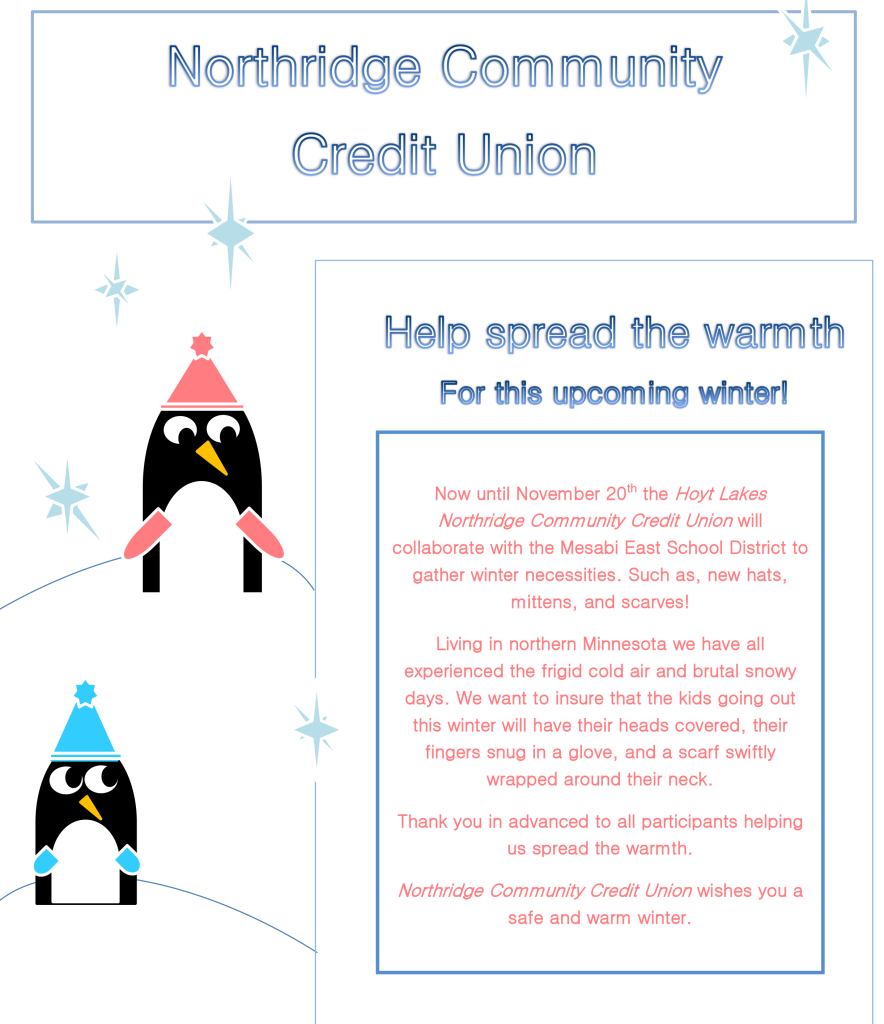 Northridge-Community-Credit-Union Spread The Warmth Hat and Mitten drive